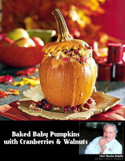 Baked Baby Pumpkins with Walnuts & Cranberries
