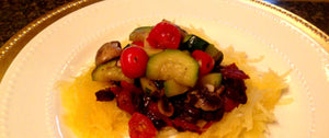 Sauteed Vegetables with Black Beans over Spaghetti Squash - Gluten Free Dairy Free