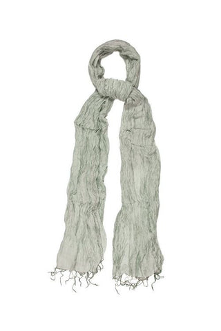 Silk & Linen Crinkle Scarf - Silver Lining