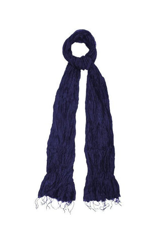 Silk & Linen Crinkle Scarf - Midnight Blue