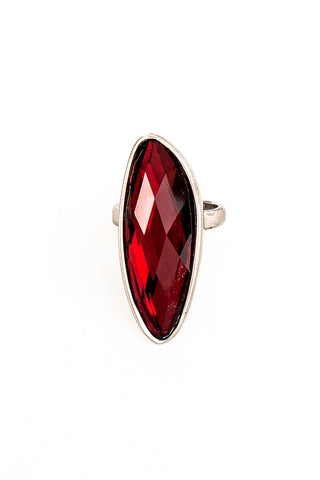 Red Facetted Organic Ring