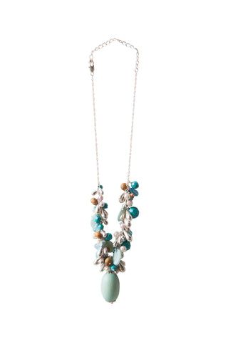 Beaded Gems Necklace - Duck Egg