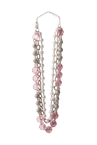 Beaded Gems Necklace - Pink