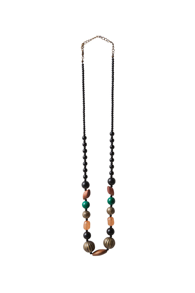 Black, Green & Terracotta Beaded Necklace