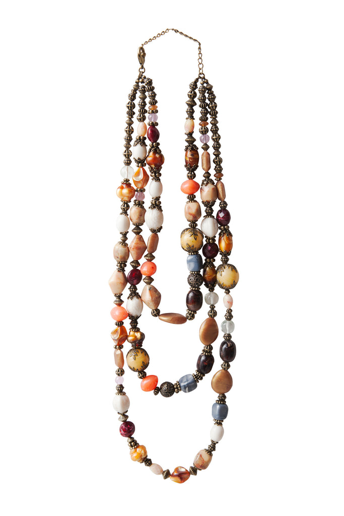 Beaded Gems Necklace - Brown