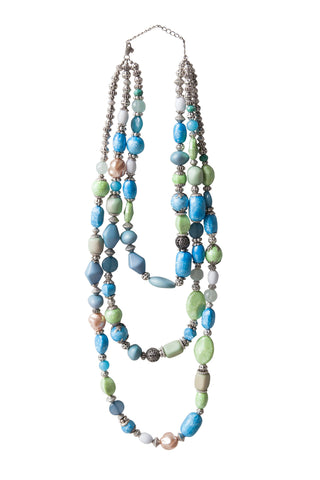 Beaded Gems Necklace - Blue