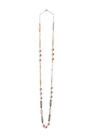 Gold & Pink Pearl Necklace