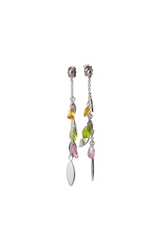 Delicate Leaf Earrings - Pink & Green