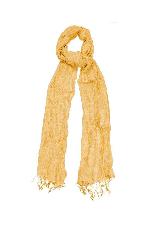 Silk & Linen Crinkle Scarf - Golden Sunlight