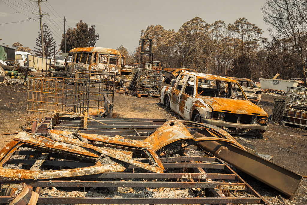 Australian bush fires on the south east coast of NSW burnt cars