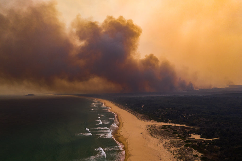 Australian bush fires on the south east coast of NSW burning