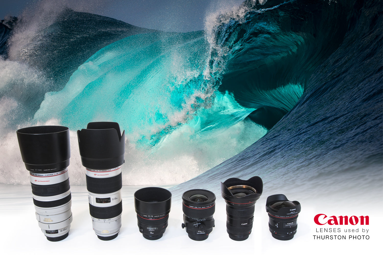 Canon Lenses used for ocean and adventure photography by Thurston Photo