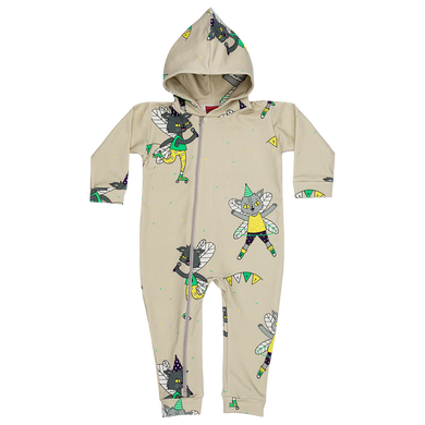 Raspberry Republic Beige Flying Kitty Hooded Onesie