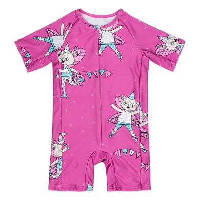 Raspberry Republic Unisex Pink Flying Kitty Swimsuit