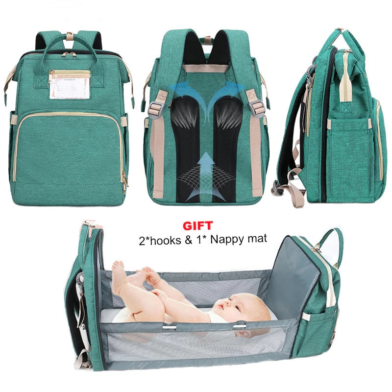 2 In 1 Diaper Bag & Travel Cot Backpack