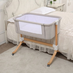 Gray Solid Wood Swivel Baby Beside Crib Sleeper - Mommies Care.