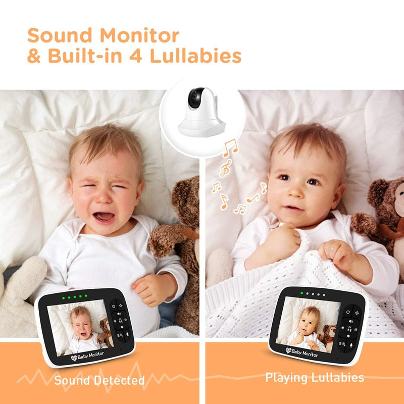 3.5'' Infrared Night Vision Wireless Video Baby Sleeping Monitor with Remote Camera Pan-Tilt-Zoom - Mommies Care.