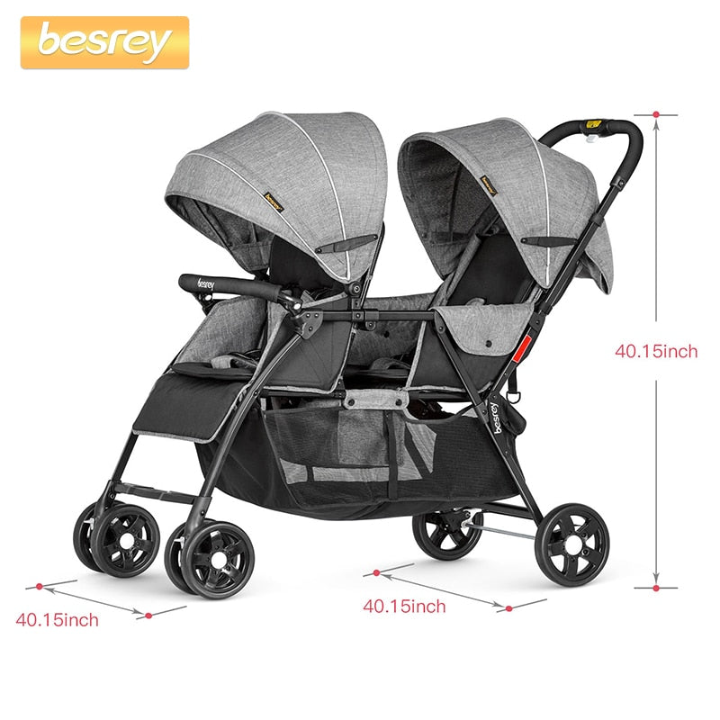 Besrey 2019 Baby Stroller for Twins Newborn Baby Folding Stroller - Mommies Care.