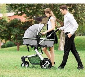 Baby stroller With Four-Wheel Shock Absorption And Car Seat - Mommies Care.