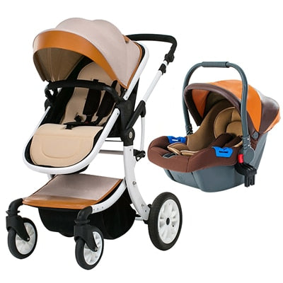 3 In 1  High Landscape Baby Carriage And Car Seat For Newborns - Mommies Care.