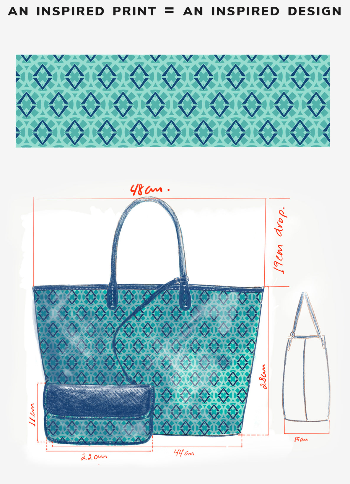 the signature lovve print is shown by itself and then as an illustrated bag design