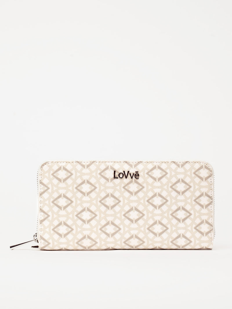 Lovve signature print wallet is shown in white/grey from the front