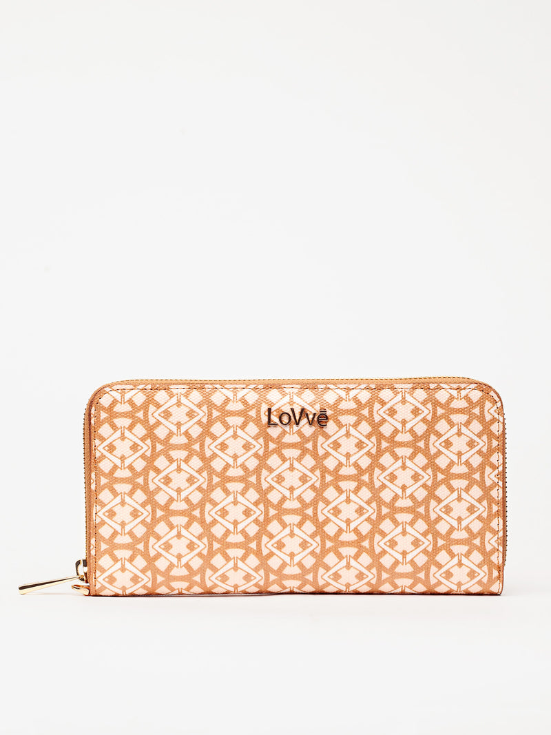 Lovve signature print wallet is shown in tan/wheat from the front