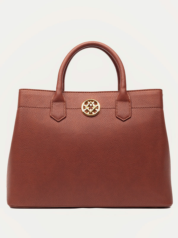 Lovve whiskey colored cassy satchel bag front shot
