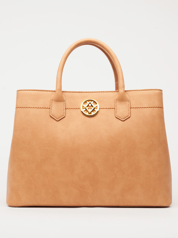 Lovve camel colored cassy satchel bag front shot