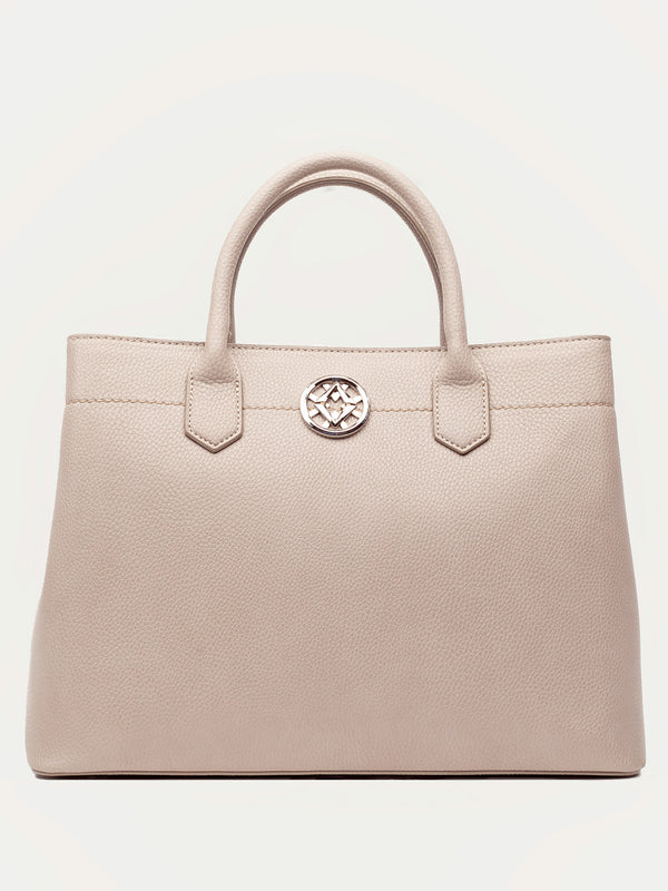 Lovve grey colored cassy satchel bag front shot