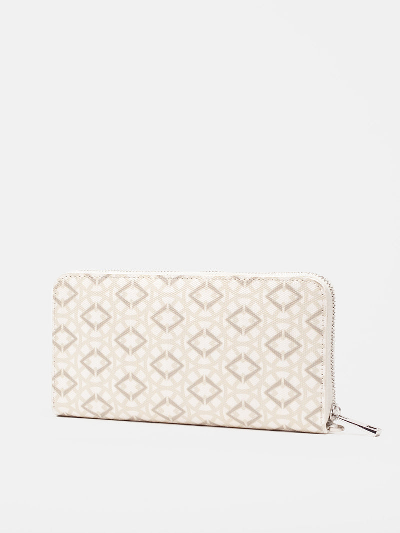 Lovve signature print wallet is shown in white/grey from the back