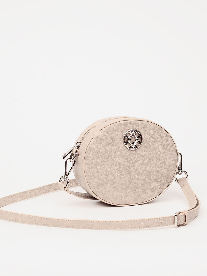 Lovve taupe olivia oval bag shot from the front
