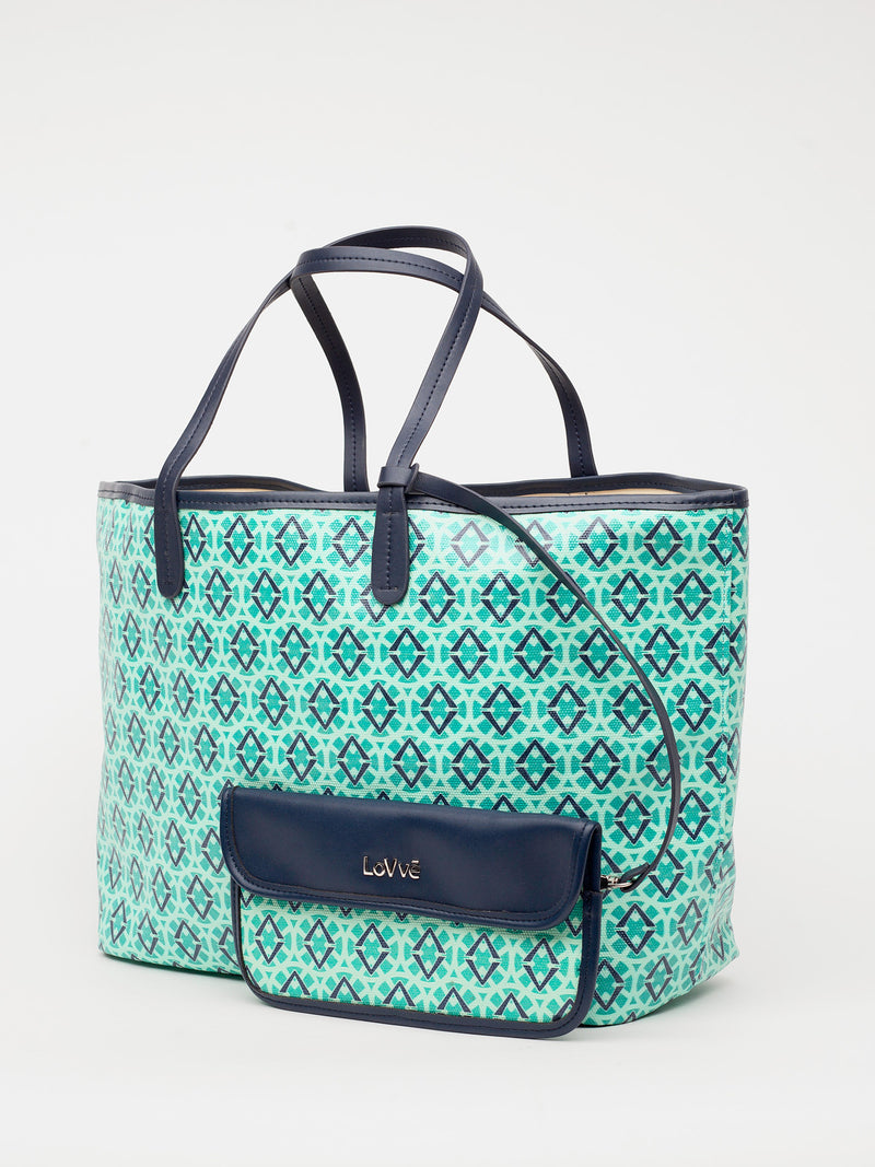 Lovve signature print tote is shown in green/navy from the front