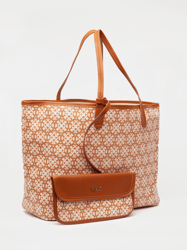 Lovve signature print tote is shown in tan/wheat from the front