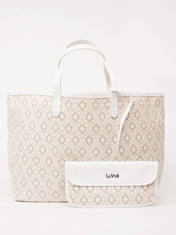 Lovve signature print tote is shown in white/grey from the front