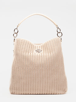 "Lovve bag ""wendy woven"" in nude is shown from the front"