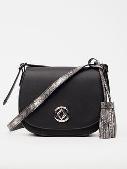 tonya tassel in black is shown from the front