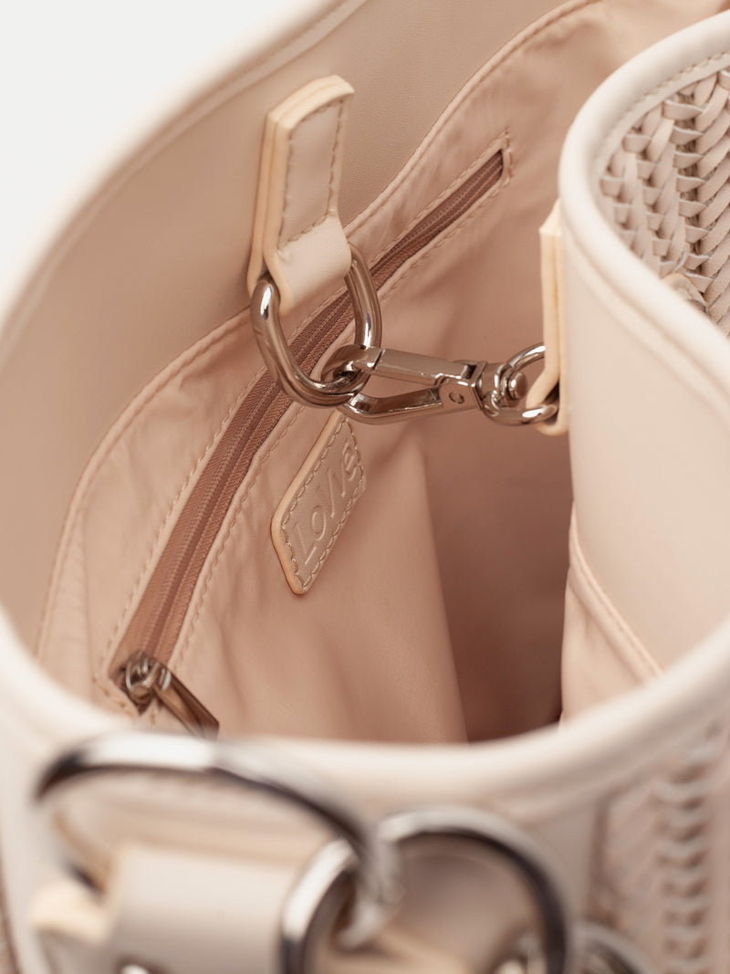 "Lovve bag ""wendy woven"" in nude showcases the inside of the bag"