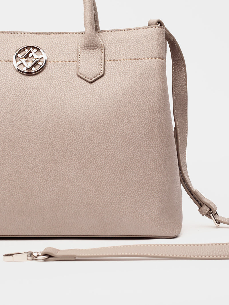 Lovve grey colored cassy satchel bag close up image of strap