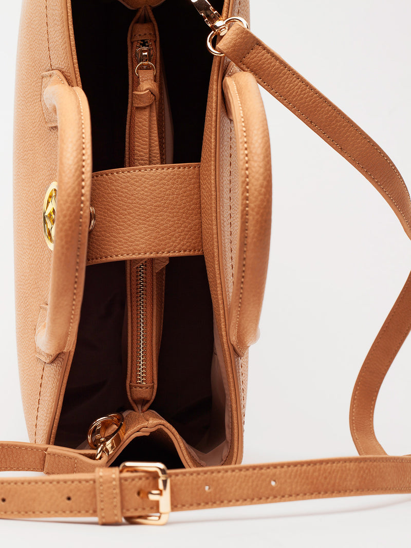 Lovve camel colored cassy satchel bag close up of inside of bag
