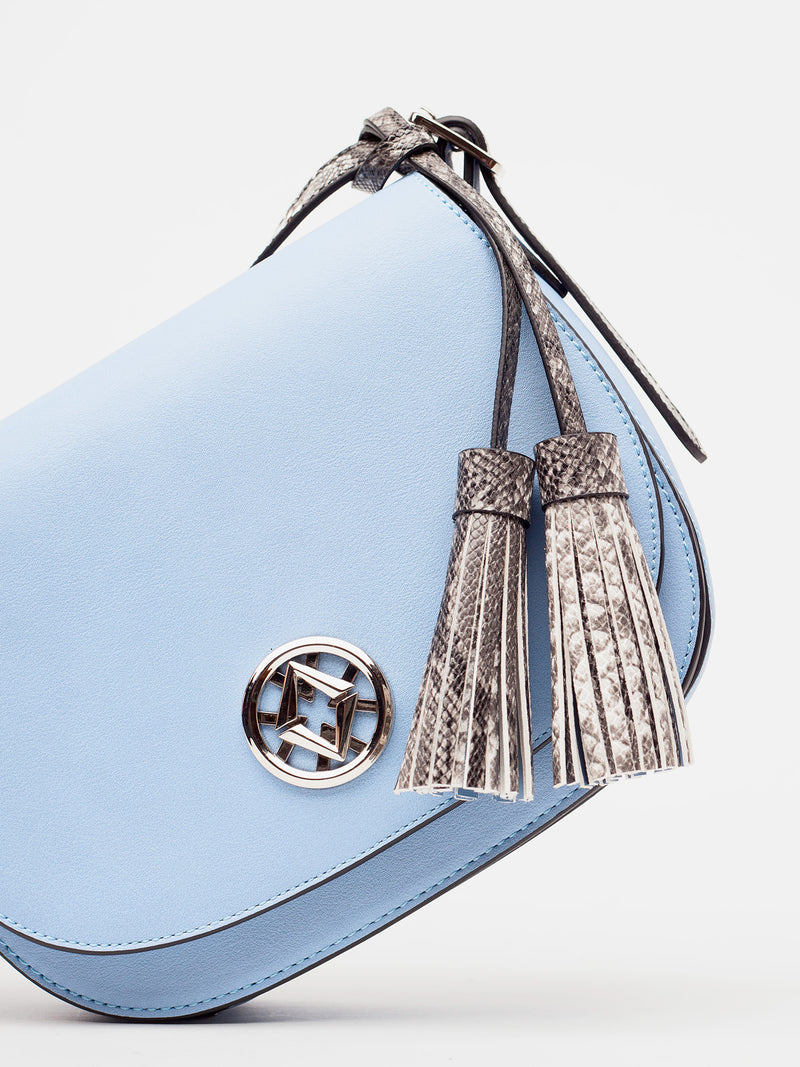 tonya tassel in blue is shown from the front and tilted at an angle