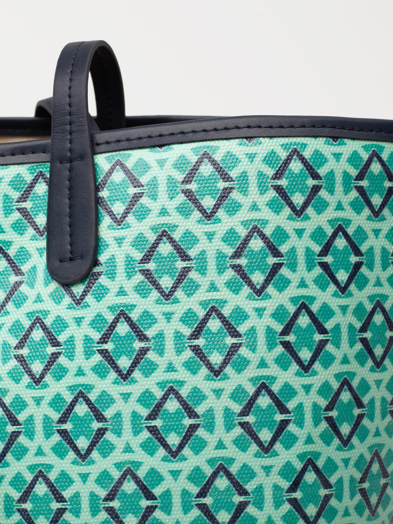 Lovve signature print tote is shown in green/navy and showcases an upcloase image of the print