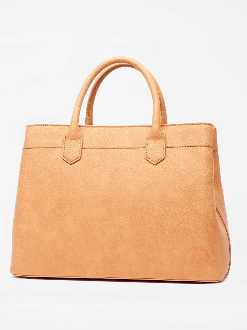 Lovve camel colored cassy satchel bag back shot