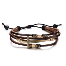 Load image into Gallery viewer, Leather Cross Bracelet