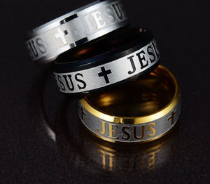 Stainless Steel Letter Bible Ring