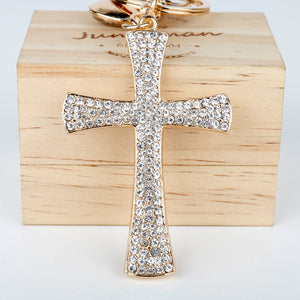 Crystal Jesus Cross Key Chain