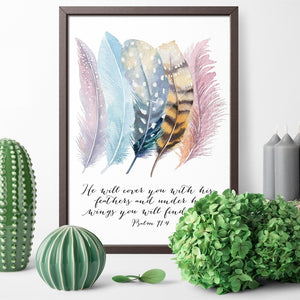 Psalm 91:4 Poster Canvas