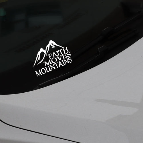 Faith Moves Mountains Car Sticker