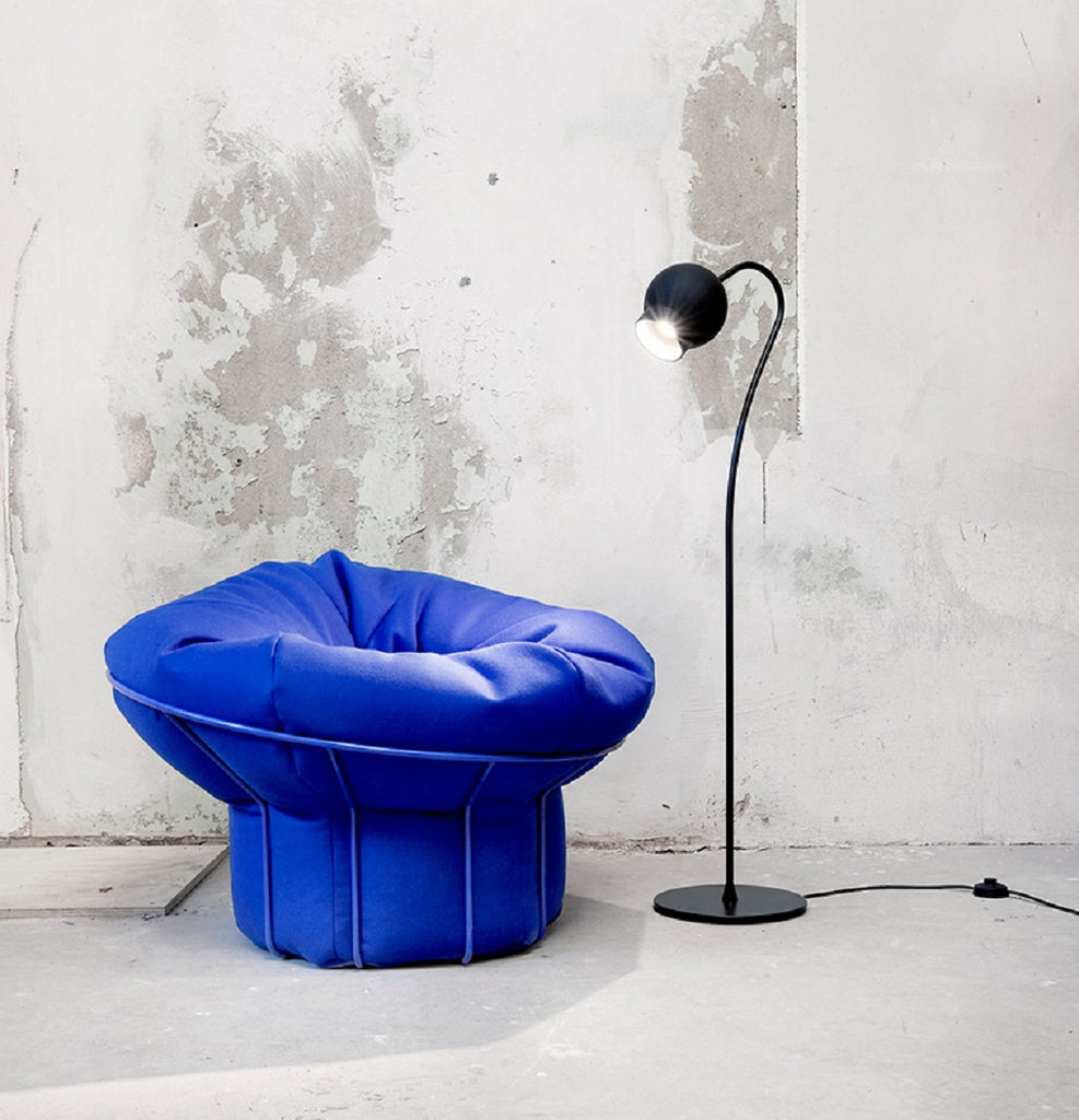 this bean bag chair is not for slouching it sits in a metal frame to keep it high and more like an armchair its more for perching and contemplating than