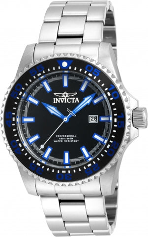 Invicta Men's 90190 Pro Diver Quartz 3 Hand Black Dial Watch